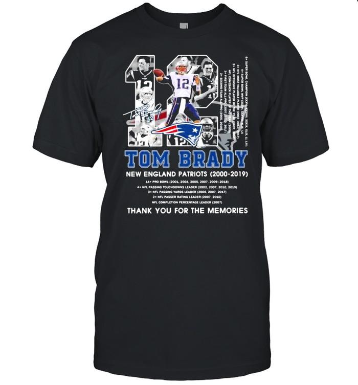 Number 12 Tom Brady New England Patriots 2000 2019 Signature shirt Classic Men's T-shirt