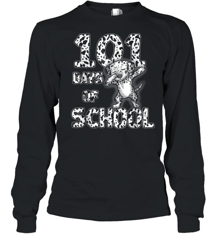 101 Days School Dabbing Dalmatian Dog 100 days Teacher shirt Long Sleeved T-shirt