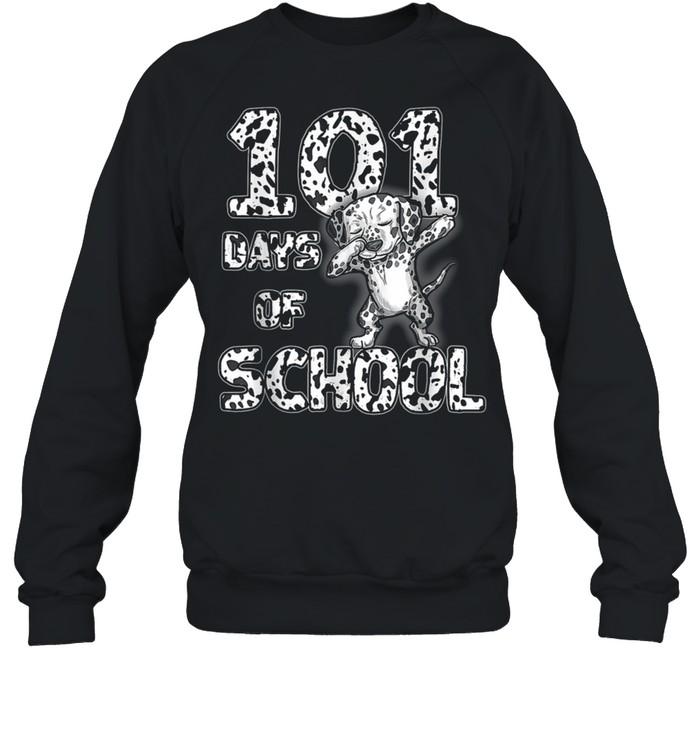 101 Days School Dabbing Dalmatian Dog 100 days Teacher shirt Unisex Sweatshirt