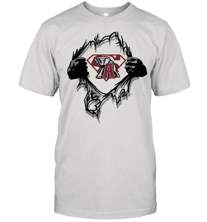 Blood Inside me Superman Alabama Crimson Tide Elephant 2021 shirt Classic Men's T-shirt