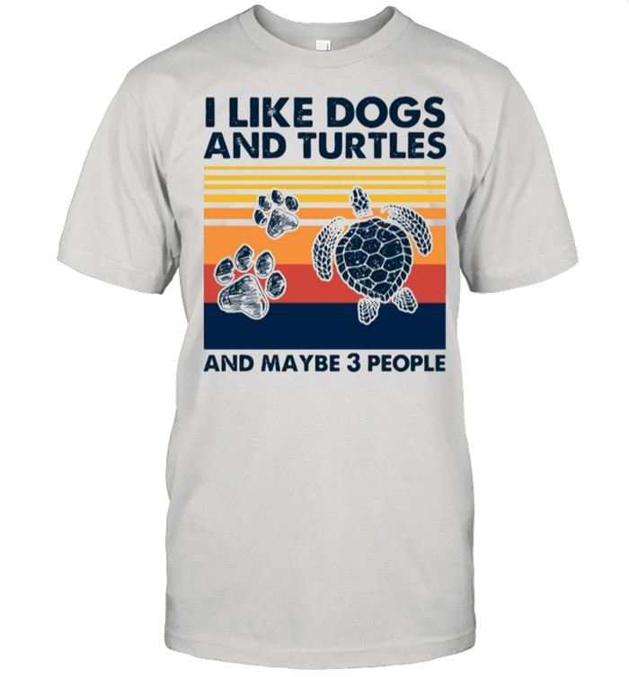 Vintage I Like Dogs And Turtles And Maybe 3 People tshirt Classic Men's T-shirt