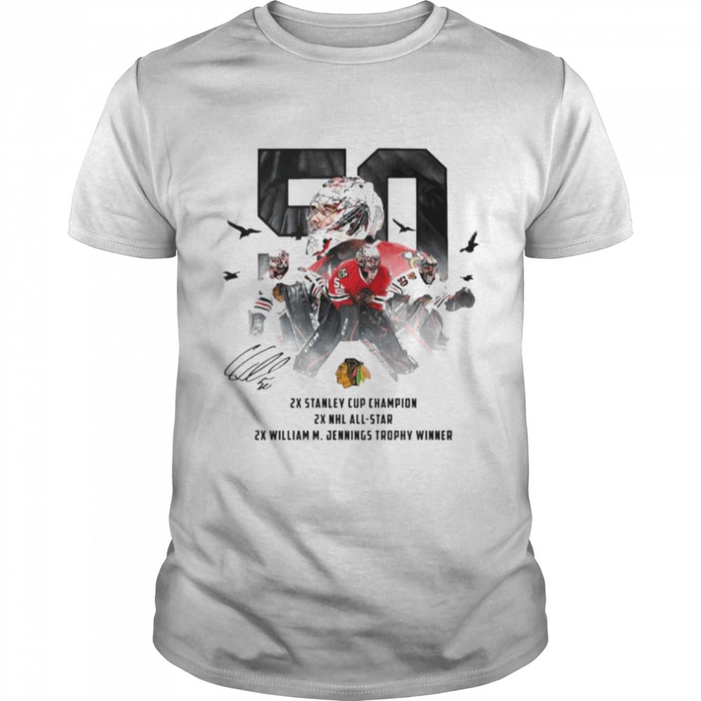 50 Corey Crawford Chicago Blackhawks 2x Stanley Cup Champion 2x NHL all-star 2x William M Jennings trophy winner shirt Classic Men's