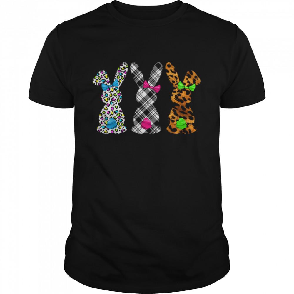 Happy Easter Leopard Plaid Bunny Rabbit shirt Classic Men's T-shirt