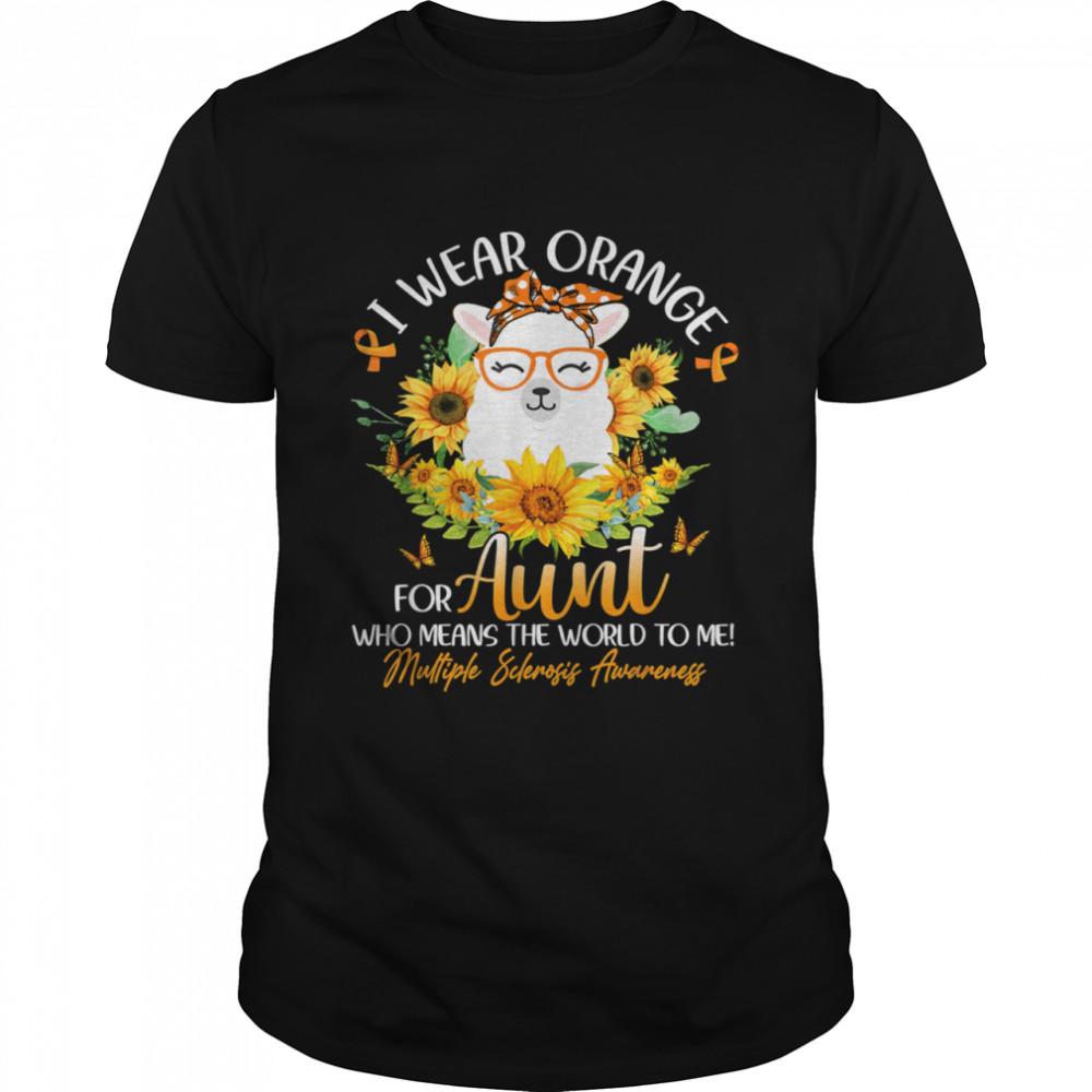 I Wear Orange For My Aunt MS Awareness Llama Sunflower shirt Classic Men's T-shirt