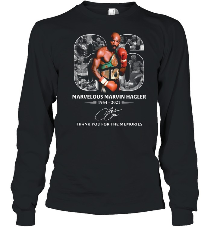 66 years of marvelous marvin hagler 1954 2021 signature thank you for the memories shirt long sleeved t shirt