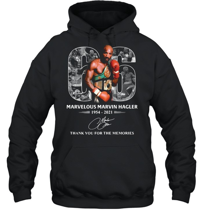 66 years of Marvelous Marvin Hagler 1954 2021 signature thank you for the memories shirt Unisex Hoodie