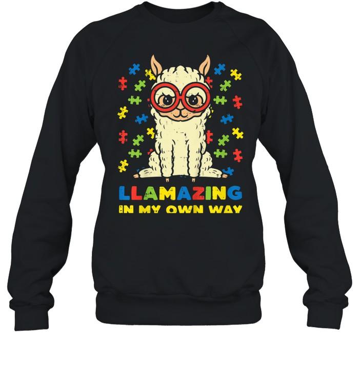 llamazing in my own way llama puzzle girls autism awareness shirt unisex sweatshirt