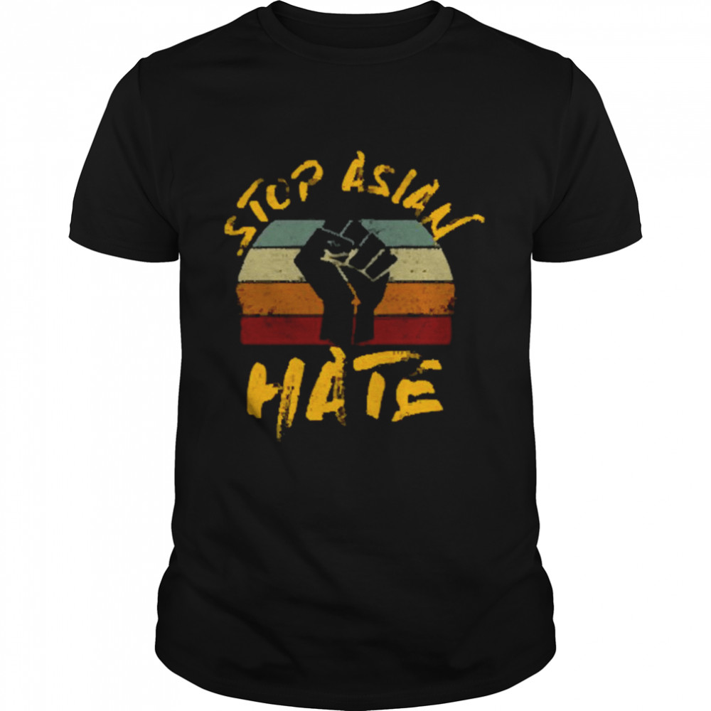 Stop Asian Hate Sign Hand Vintage  Classic Men's T-shirt