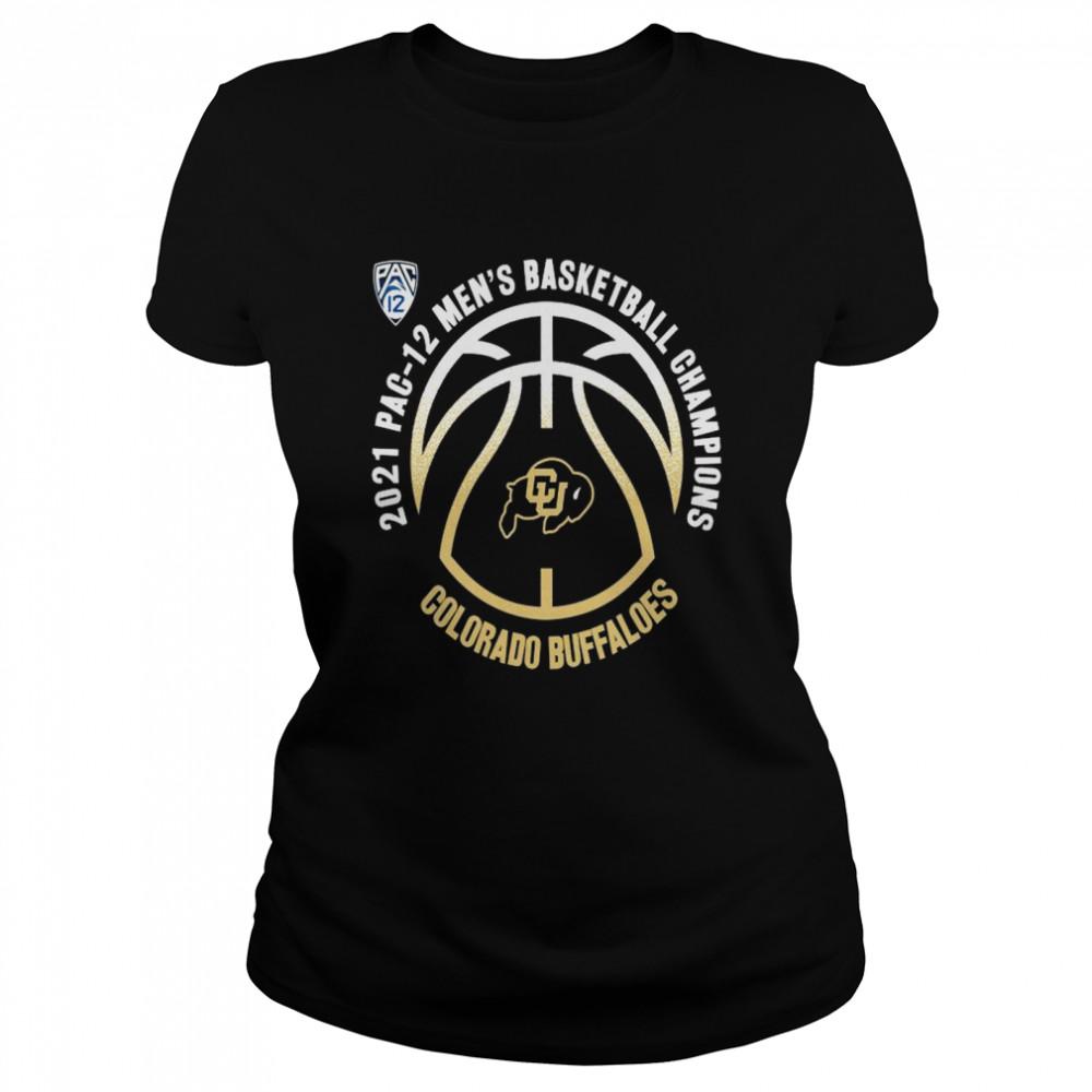 colorado buffaloes 2021 pac 12 mens basketball champions shirt classic womens t shirt