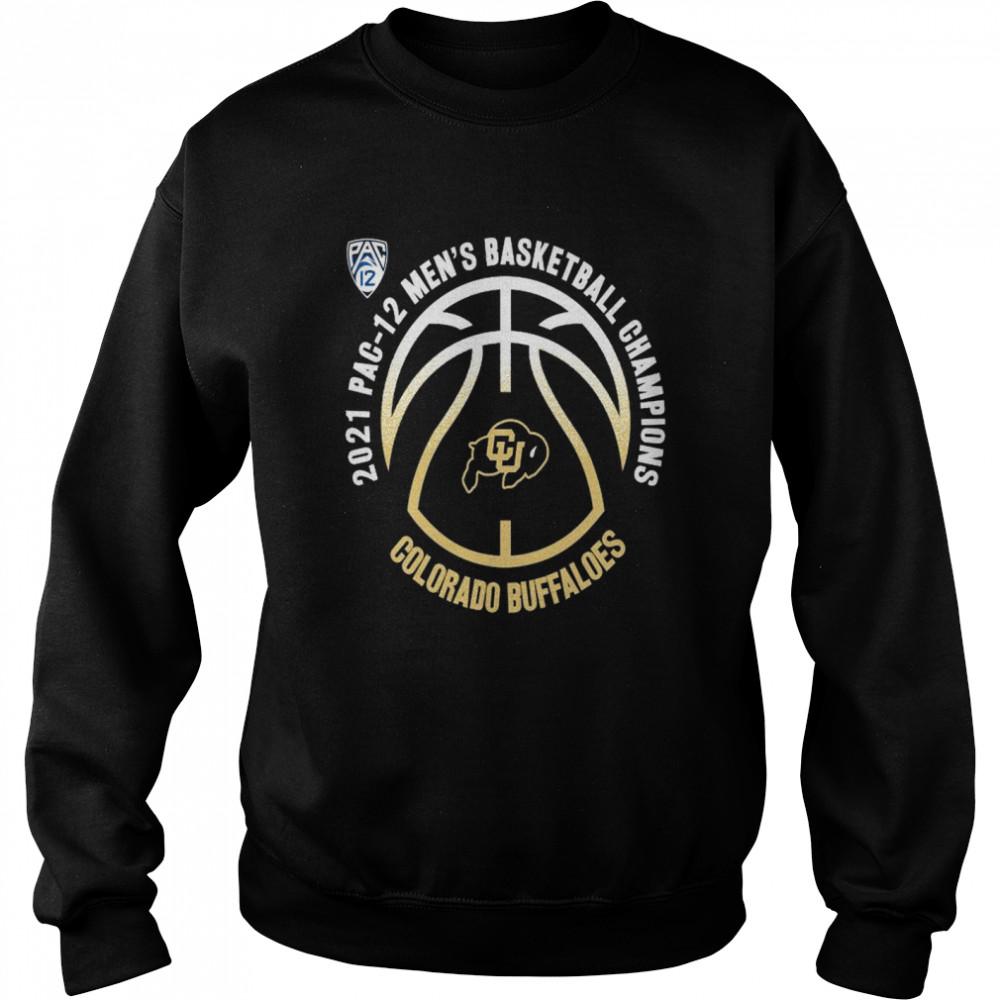 colorado buffaloes 2021 pac 12 mens basketball champions shirt unisex sweatshirt