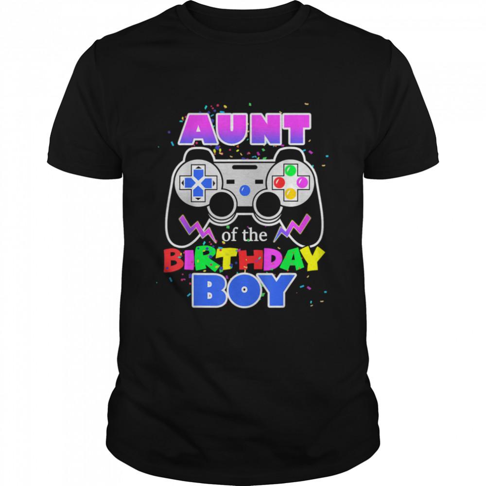 Aunt of the Birthday Boy Video Gamer Birthday Party Auntie shirt Classic Men's T-shirt