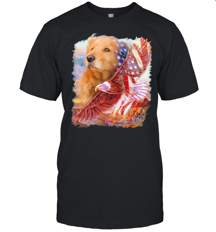 Eagle Golden Retriever American Wings Happy 4th Of July  Classic Men's T-shirt
