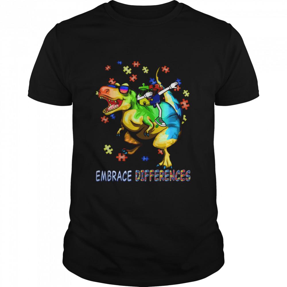 Autism Awareness Embrace Differences Dinosaur Dabbing Puzzle  Classic Men's T-shirt