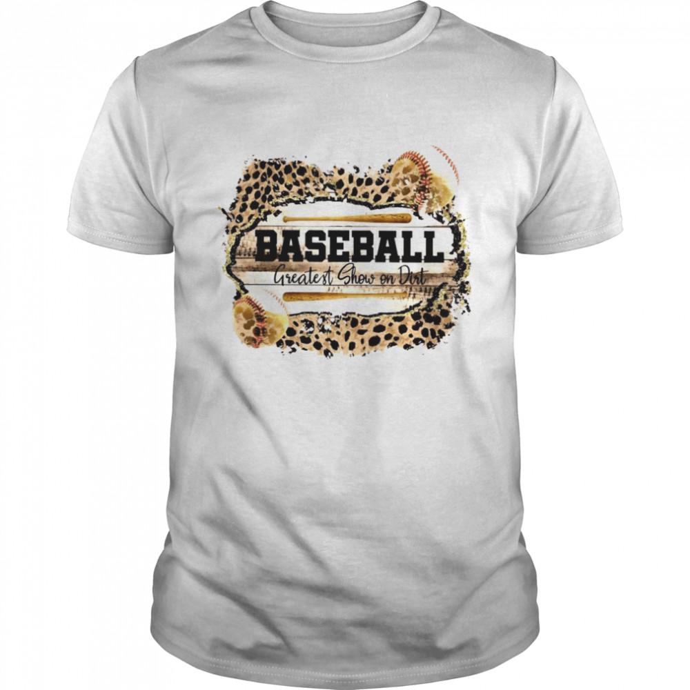 Baseball Greatest Show On Dirt Leopard Skin  Classic Men's T-shirt