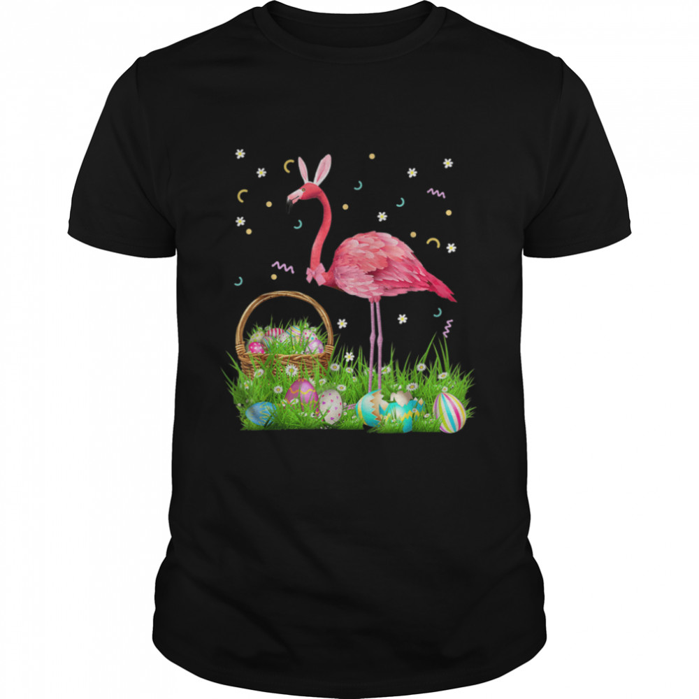 Flamingo Easter Day Bunny Ear Costume With Easter Basket Egg  Classic Men's T-shirt