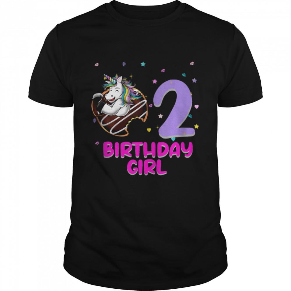 Unicorn Donut 2nd Birthday Girl Love 2 Years Old  Classic Men's T-shirt