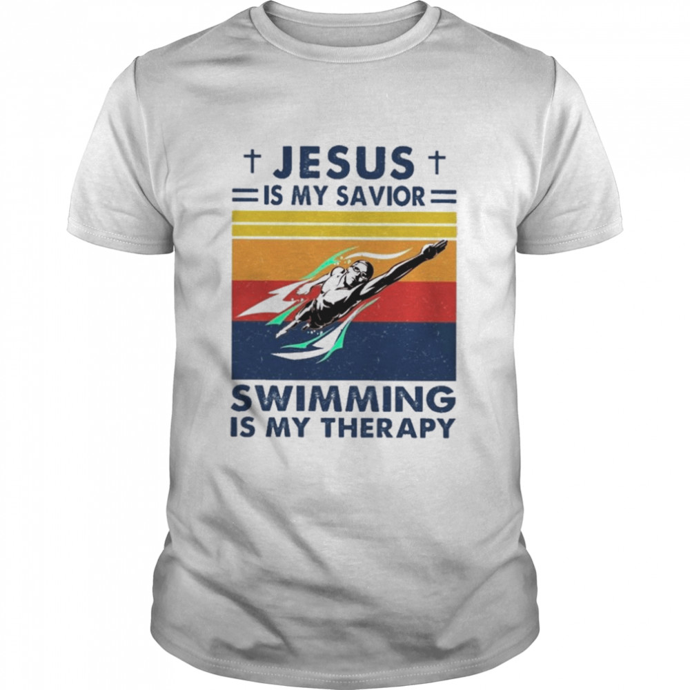 Jesus Is My Savior Swimming Is My Therapy Vintage shirt Classic Men's T-shirt