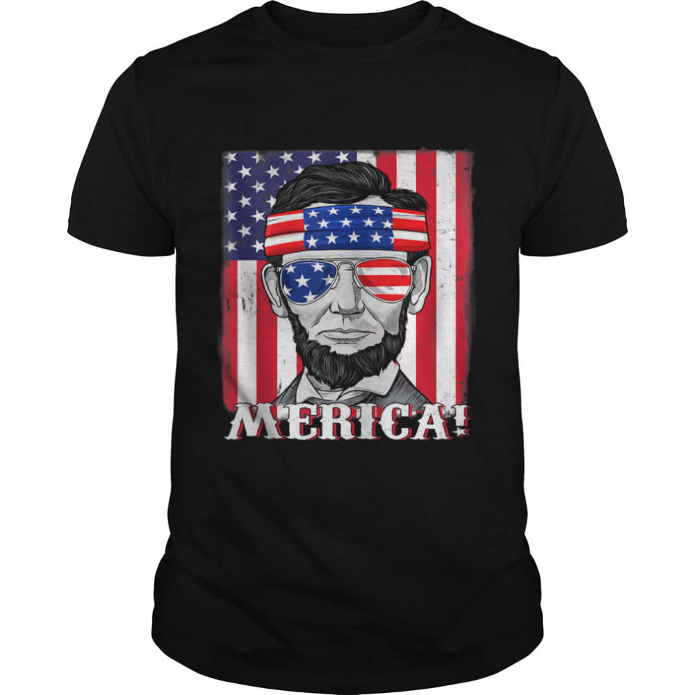 Abraham Lincoln 4th Of July Merica American Flag  Classic Men's T-shirt