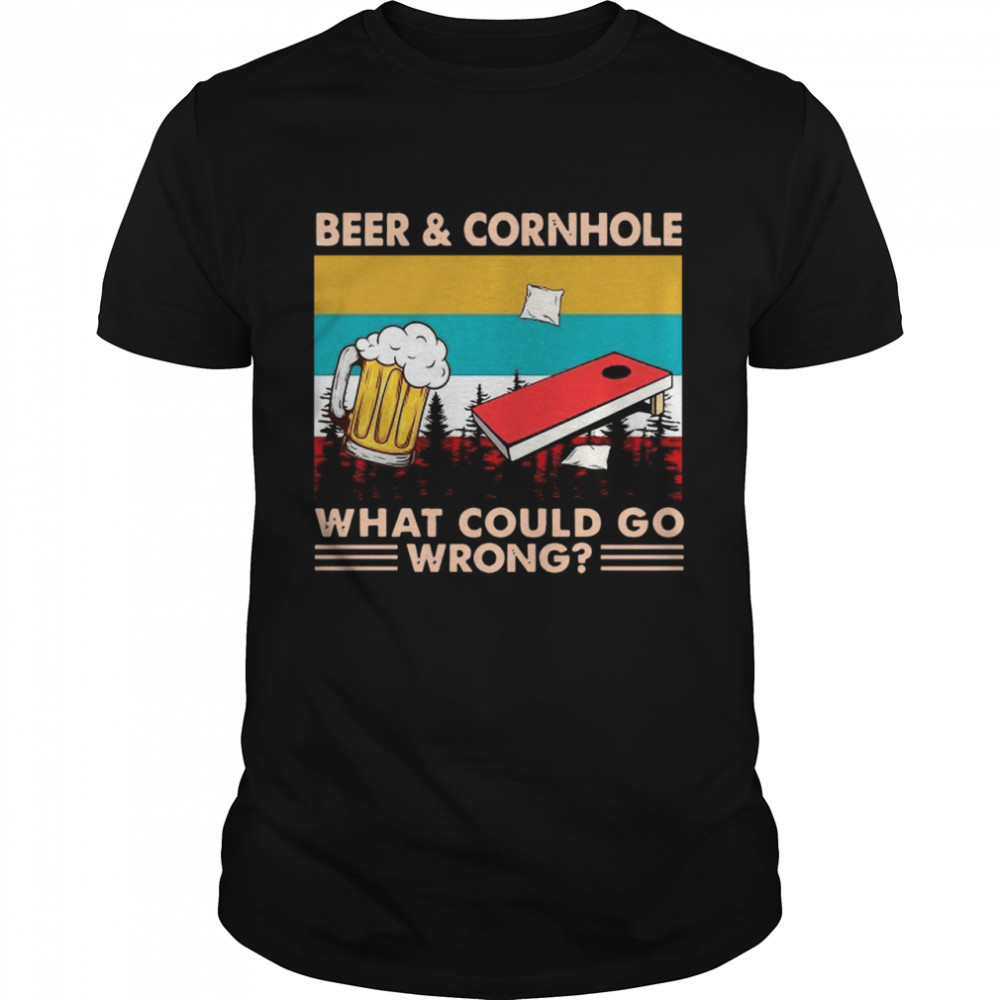 Beer And Cornhole What Could Go Wrong Vintage  Classic Men's T-shirt