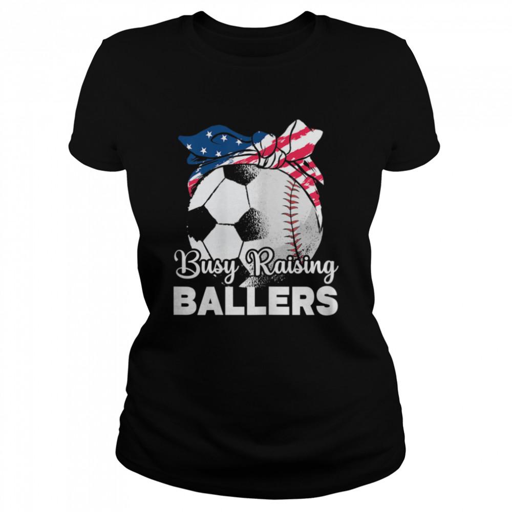 busy raising ballers mothers day baseball sport shirt classic womens t shirt