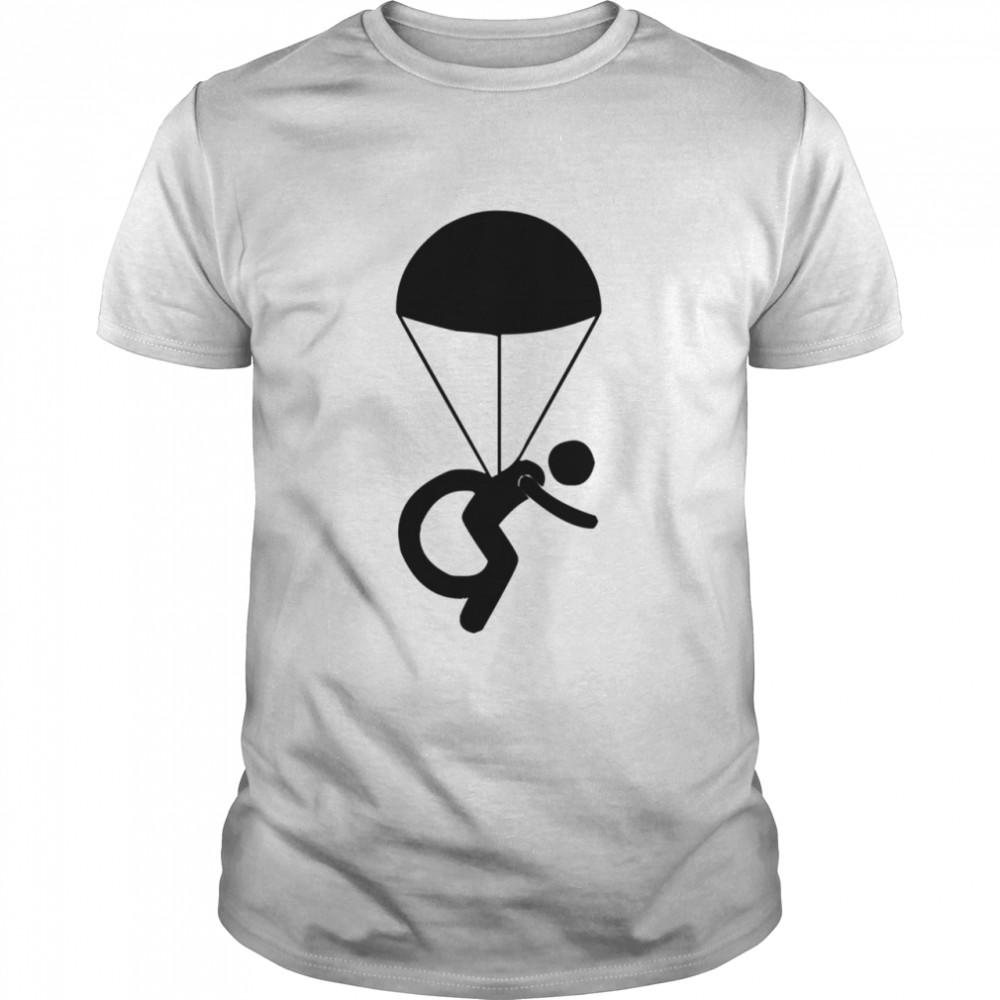 Disabled Skydiver Parachute Wheelchair Symbol  Classic Men's T-shirt