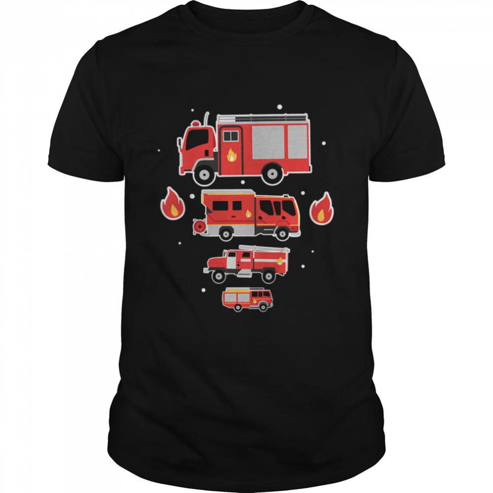 Kids firefighter fire extinguishing fire truck  Classic Men's T-shirt