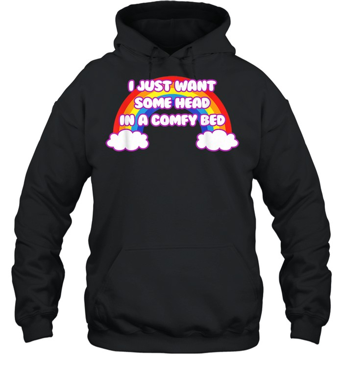 i just want some head in a comfy bed rainbow pride  unisex hoodie