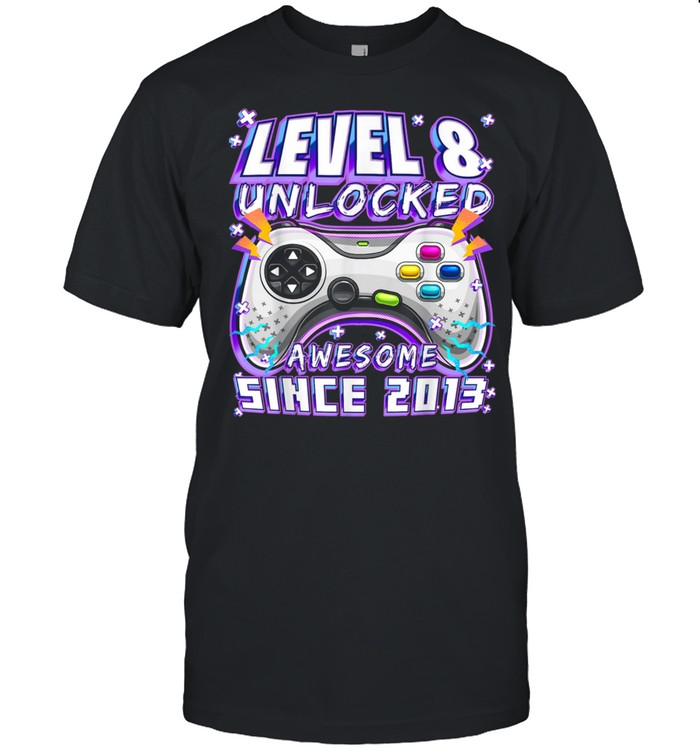 Level 8 Unlocked Awesome 2013 Video Game 8th Birthday  Classic Men's T-shirt