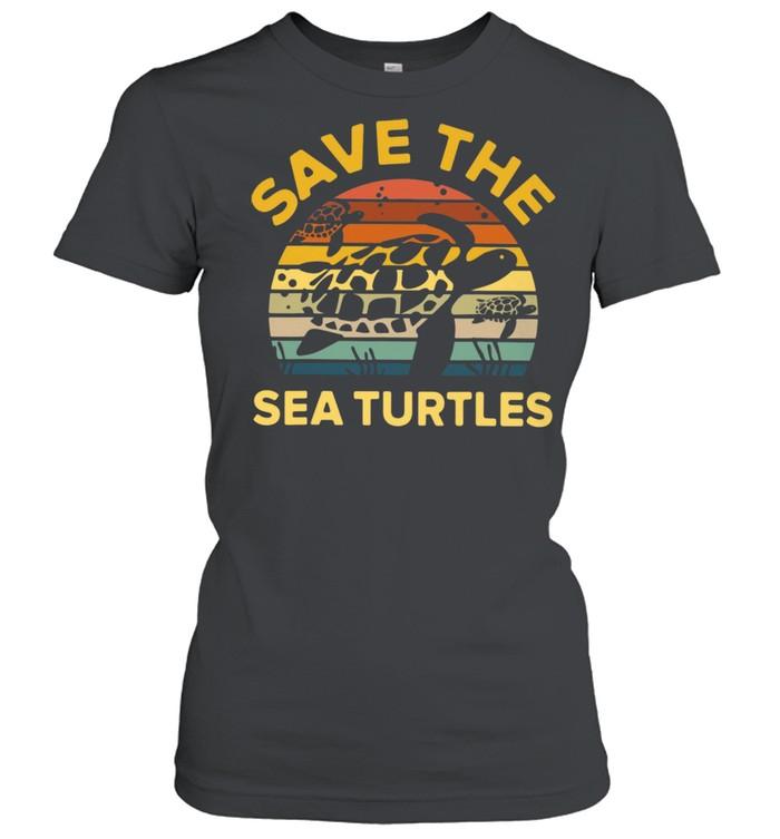 save the sea turtle vintage retro shirt classic womens t shirt