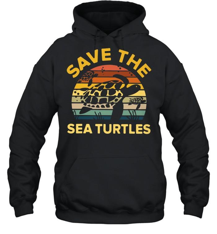 save the sea turtle vintage retro shirt unisex hoodie