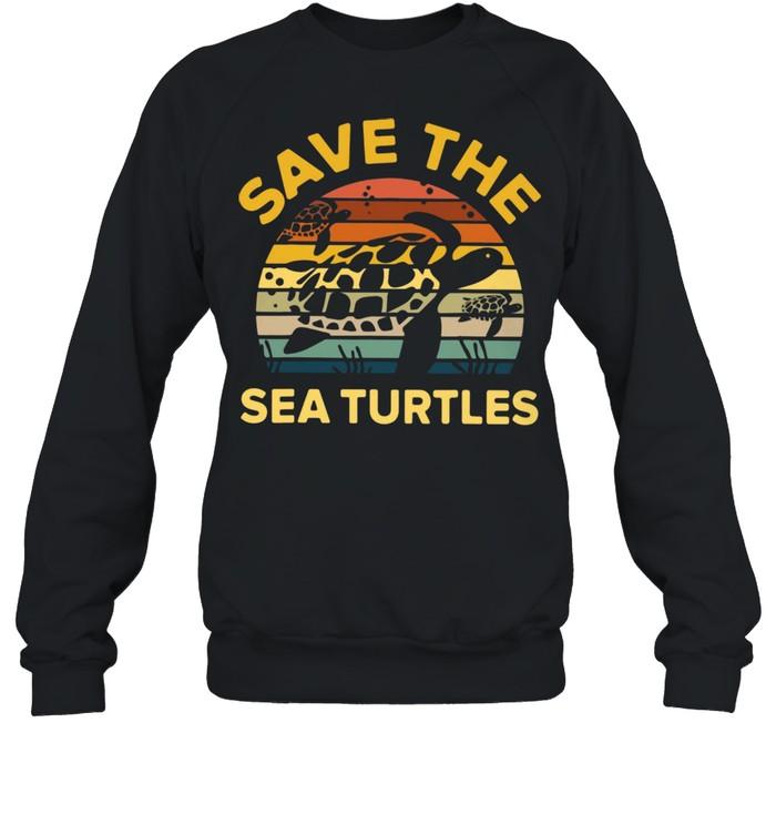 save the sea turtle vintage retro shirt unisex sweatshirt