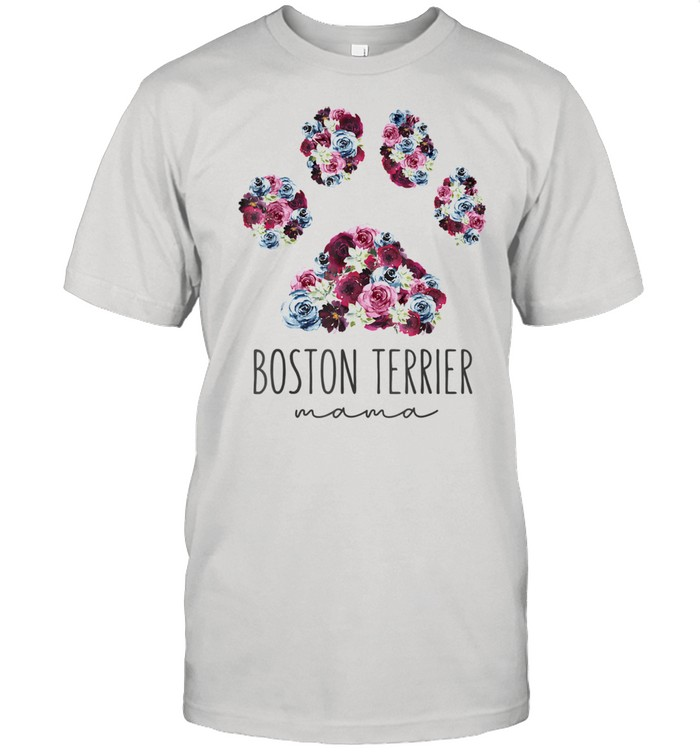 Boston Terrier Mama Floral Paw Dog Mom  Classic Men's T-shirt