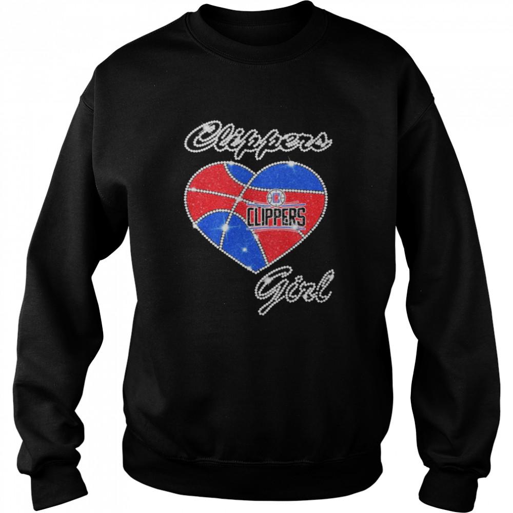 heart clippers girl diamond shirt unisex sweatshirt