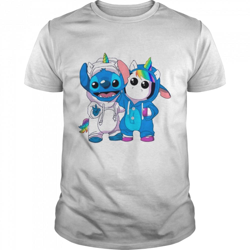 Lilo And Stitch Cool With Unicorn shirt Classic Men's T-shirt