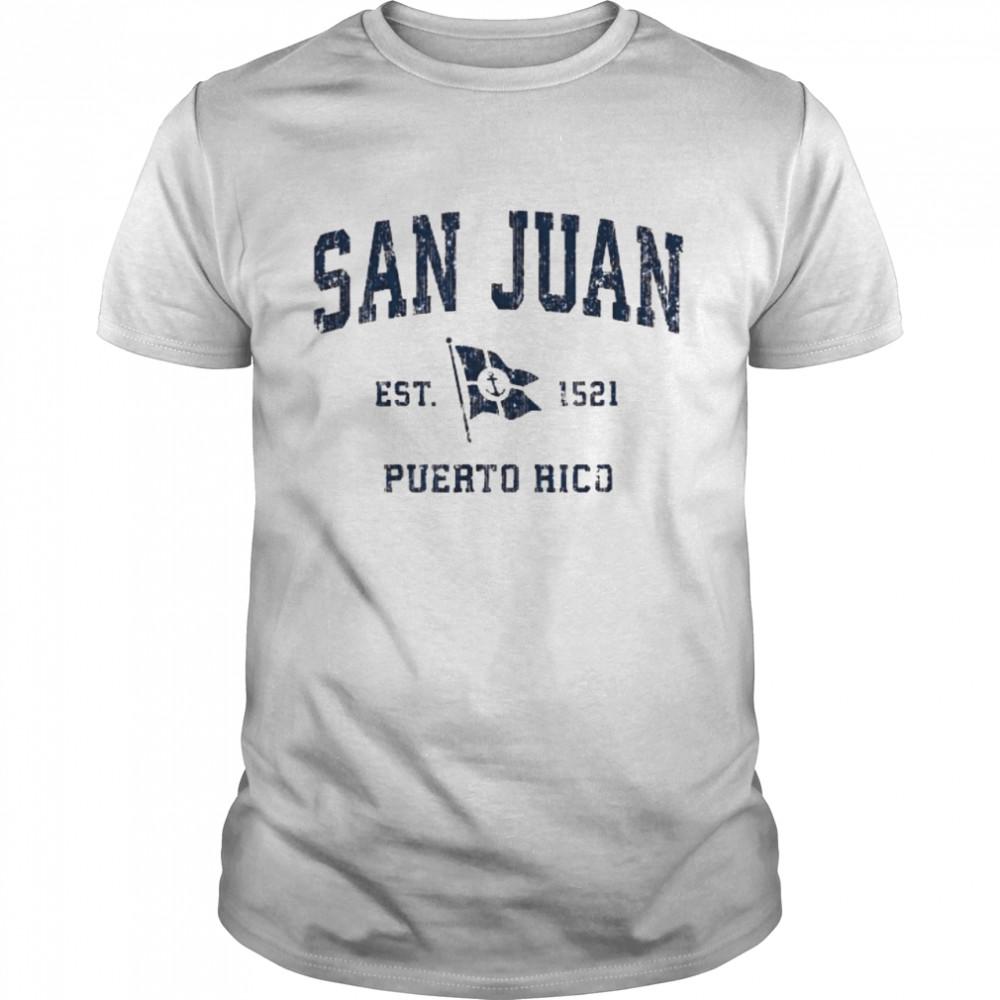 San Juan PR Sports Navy Boat Anchor Flag  Classic Men's T-shirt
