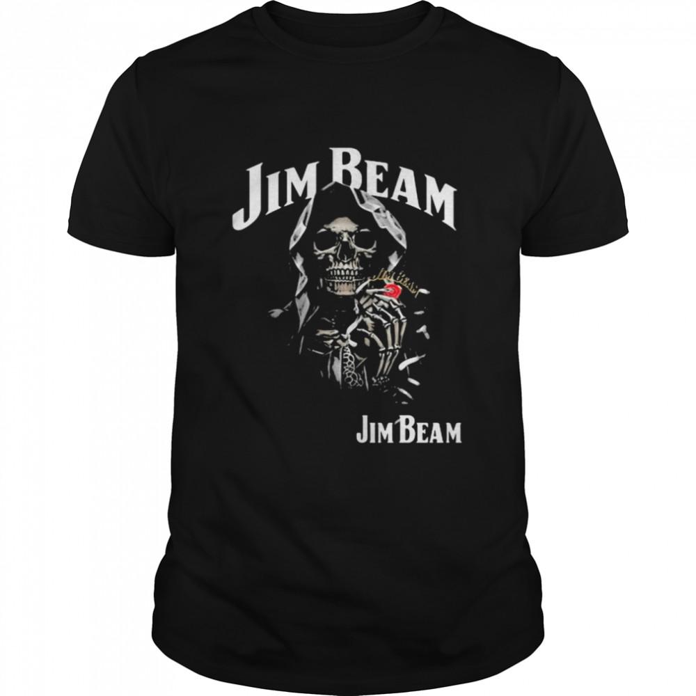 Skull Holding Jim Beam Logo  Classic Men's T-shirt