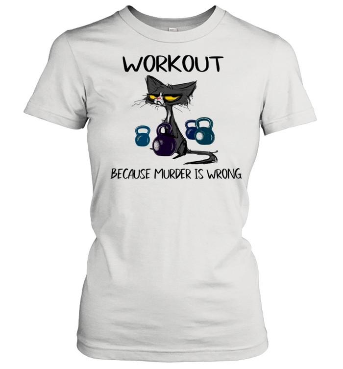 black cat workout because murder is wrong shirt classic womens t shirt