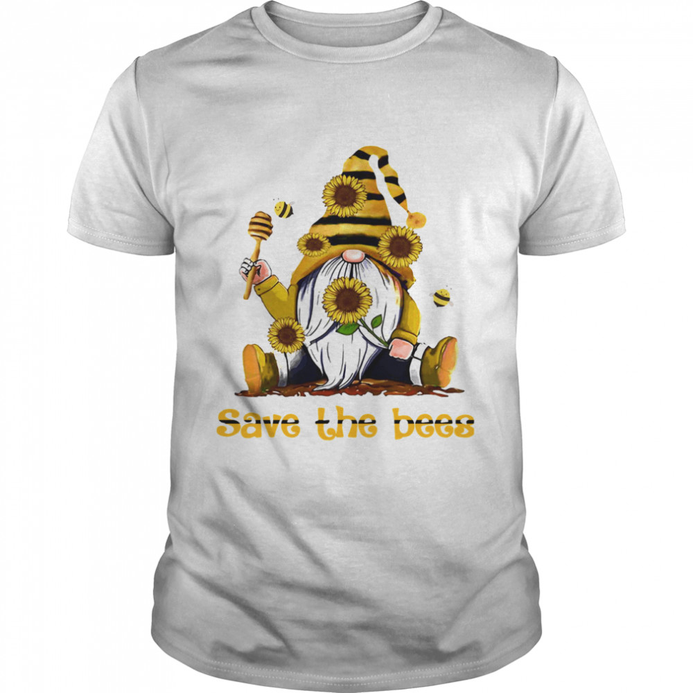 Gnome Sunflowers Bee Save The Bees  Classic Men's T-shirt