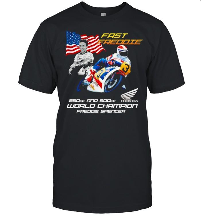 Fast Freddie 250cc And 500cc World Chamoion Freddie Spencer Honda Logo American Flag  Classic Men's T-shirt