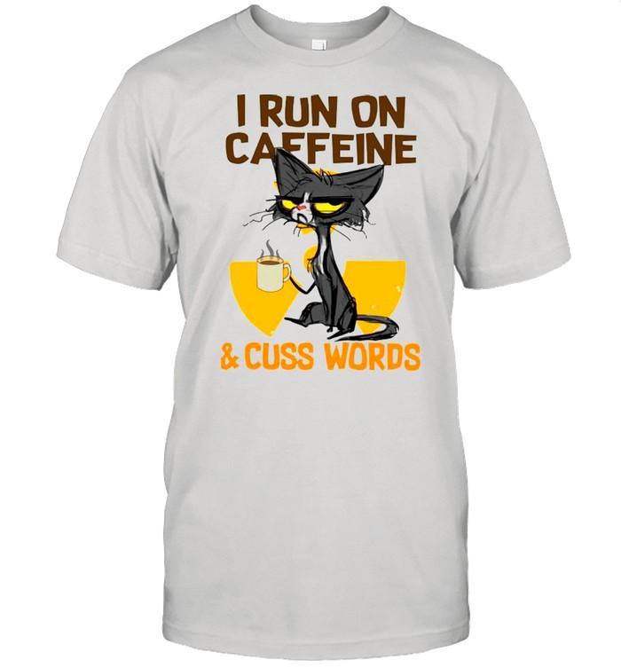 Black Cat Drink Coffee I Run On Caffeine And Cuss Words shirt Classic Men's T-shirt