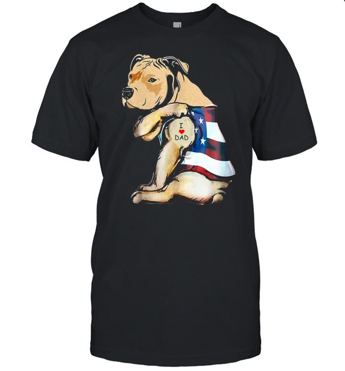 Womens PitBull Dog Tattoo I Love Dad shirt Classic Men's T-shirt