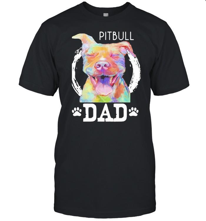 Pitbull Dad Watercolor  Classic Men's T-shirt