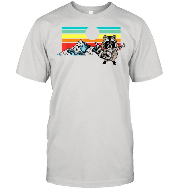 Raccoon Playing Banjo Cute Mountains Vintage Sunset shirt Classic Men's T-shirt