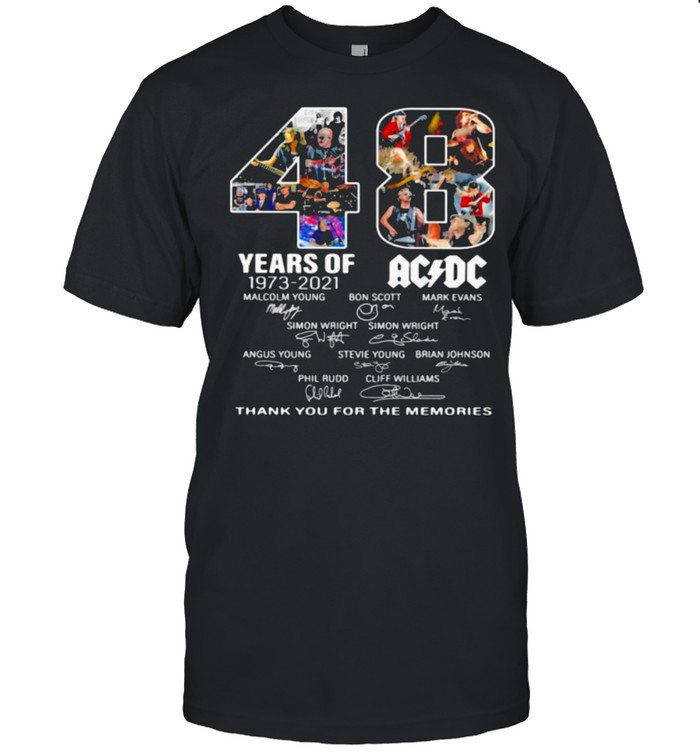 48 years of 1973 2021 AC DC Thank you for the memories signature shirt Classic Men's T-shirt