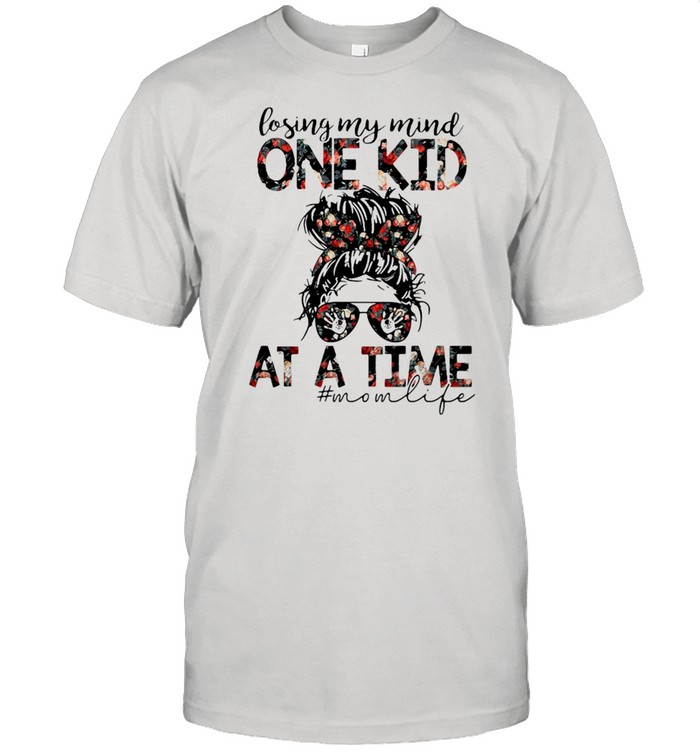 Losing My Mind One Kid At A Time Mom Life Flower  Classic Men's T-shirt
