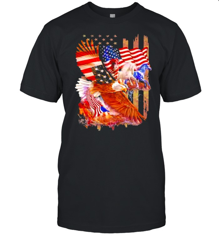 Horse Freedom And Eagle American Flag  Classic Men's T-shirt