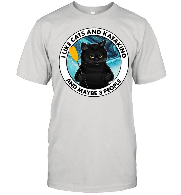 Black Cat I Like Cats And Kayaking And Maybe 3 People T-shirt Classic Men's T-shirt