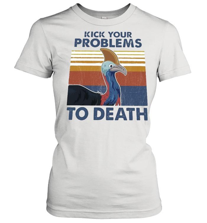 cassowary kick your problems to death vintage retro t shirt classic womens t shirt
