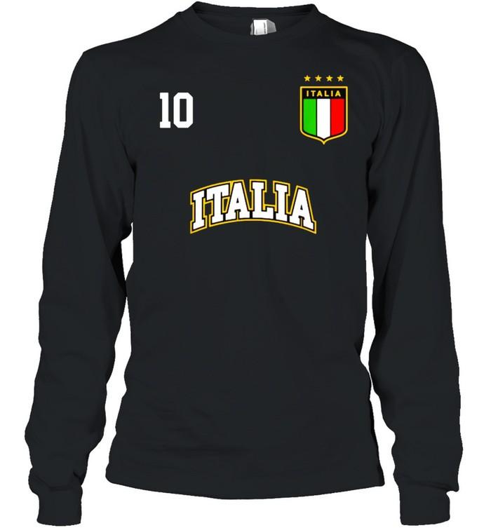 Italia Team Sports Number 10 Italy Soccer Italian Flag  Long Sleeved T-shirt
