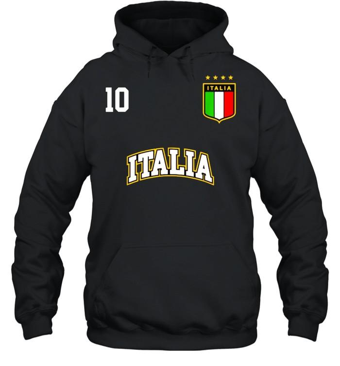 Italia Team Sports Number 10 Italy Soccer Italian Flag  Unisex Hoodie